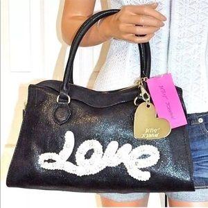 Betsey Johnson Bags - BETSEY JOHNSON Black Handbag LOVE Crossbody Purse